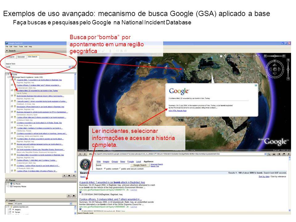 Exemplos de uso avançado: mecanismo de busca Google (GSA) aplicado a base