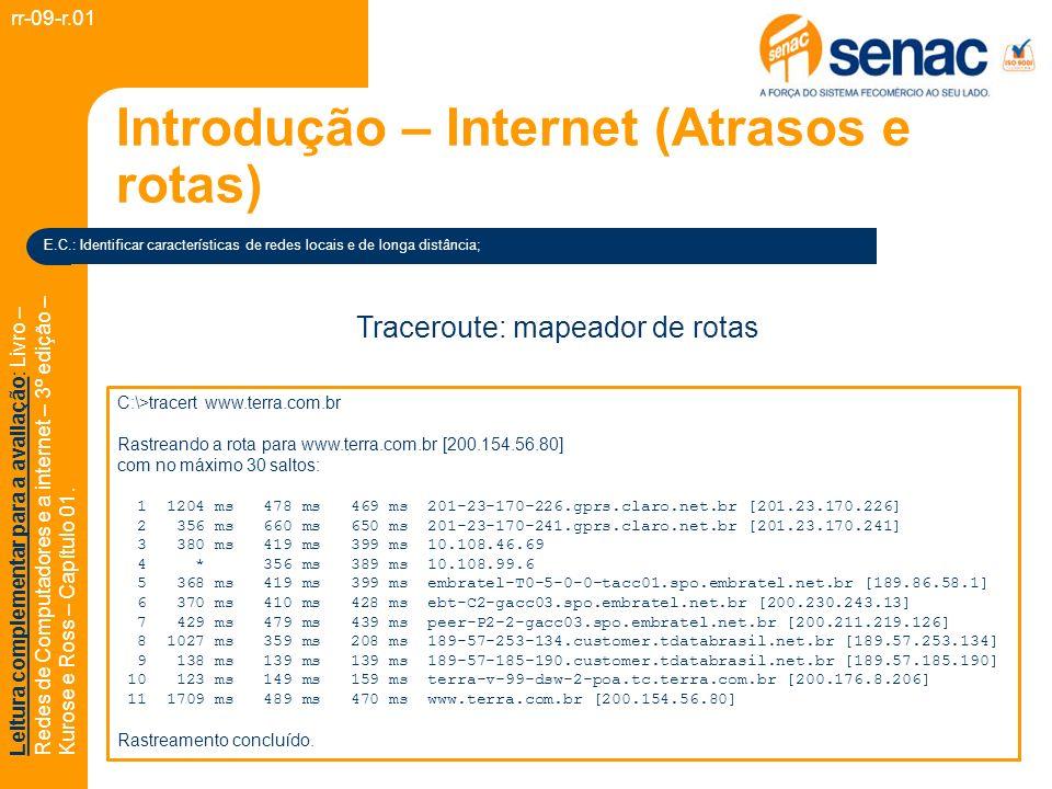 Introdução – Internet (Atrasos e rotas)