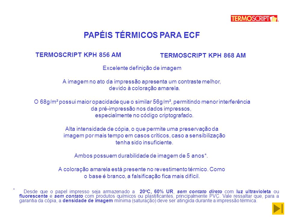 PAPÉIS TÉRMICOS PARA ECF
