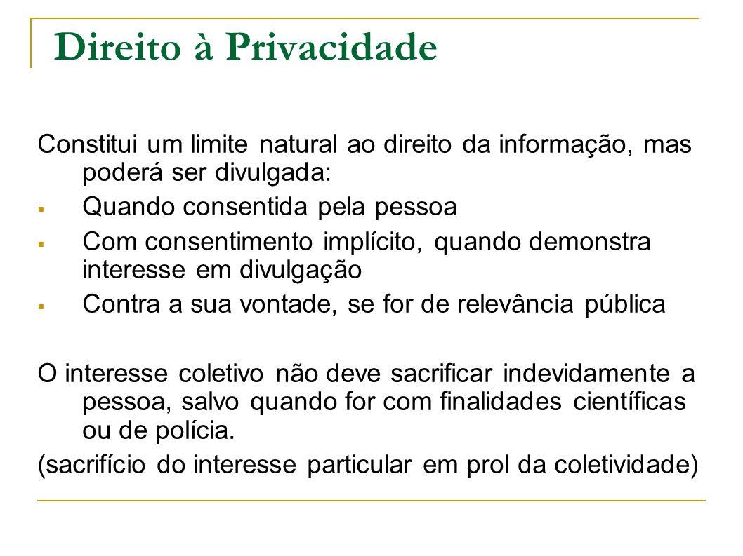 Direito à Privacidade Constitui um limite natural ao direito da informação, mas poderá ser divulgada: