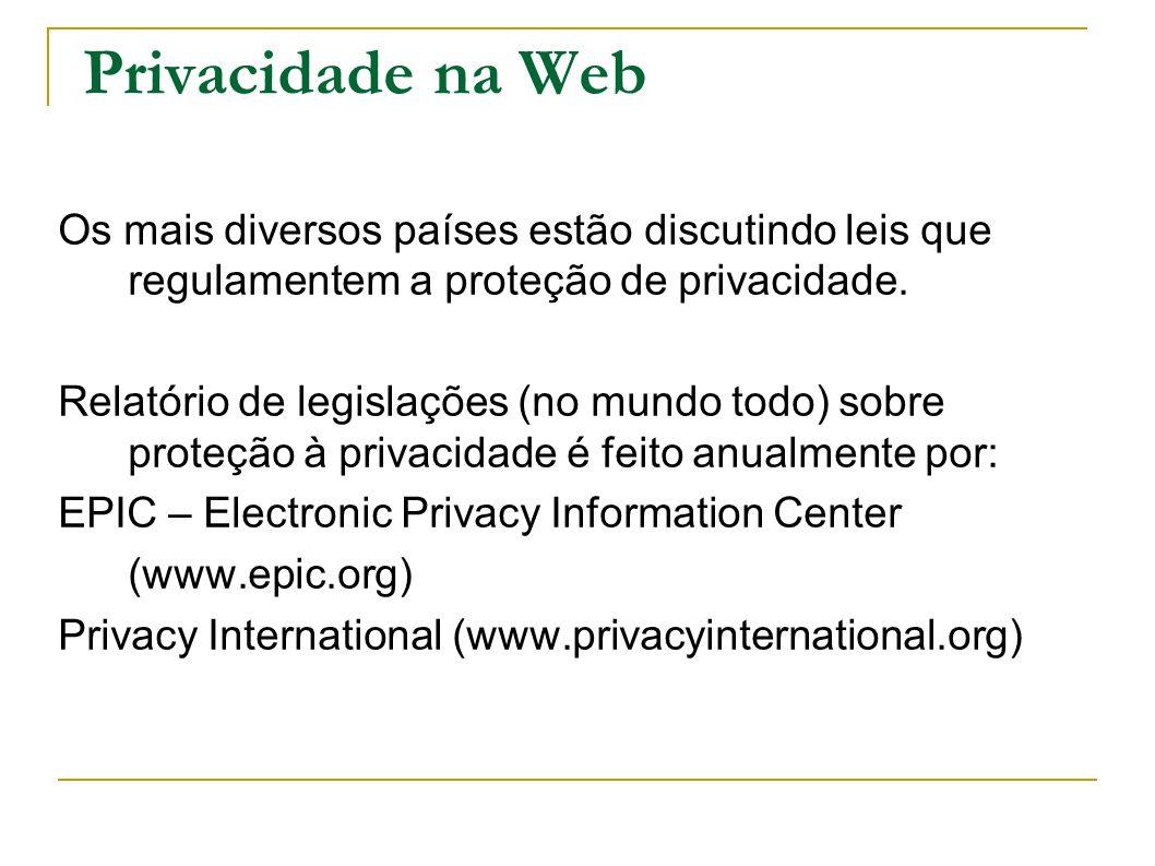 Privacidade na Web Os mais diversos países estão discutindo leis que regulamentem a proteção de privacidade.