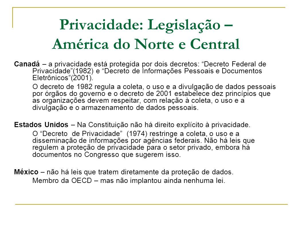 Privacidade: Legislação – América do Norte e Central