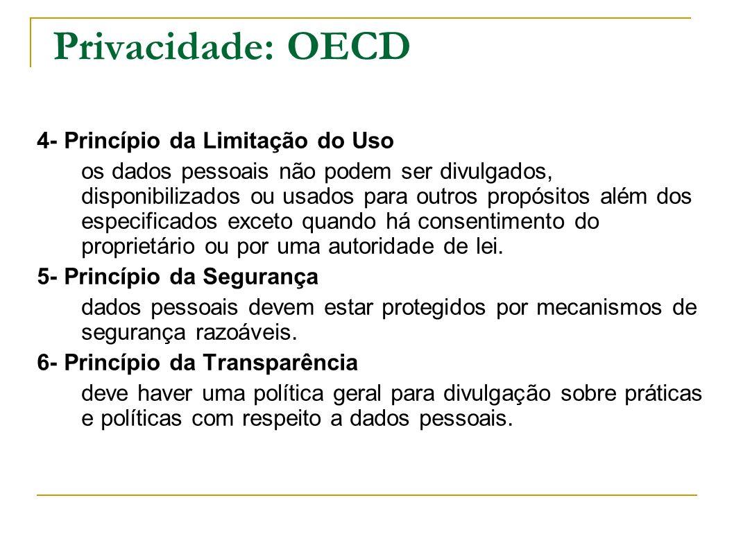Privacidade: OECD 4- Princípio da Limitação do Uso
