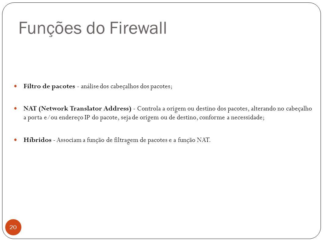 Funções do Firewall Filtro de pacotes - análise dos cabeçalhos dos pacotes;