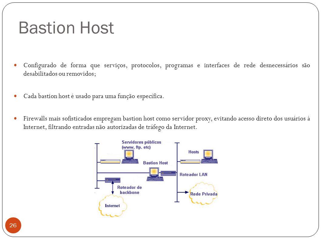 Bastion Host Configurado de forma que serviços, protocolos, programas e interfaces de rede desnecessários são desabilitados ou removidos;