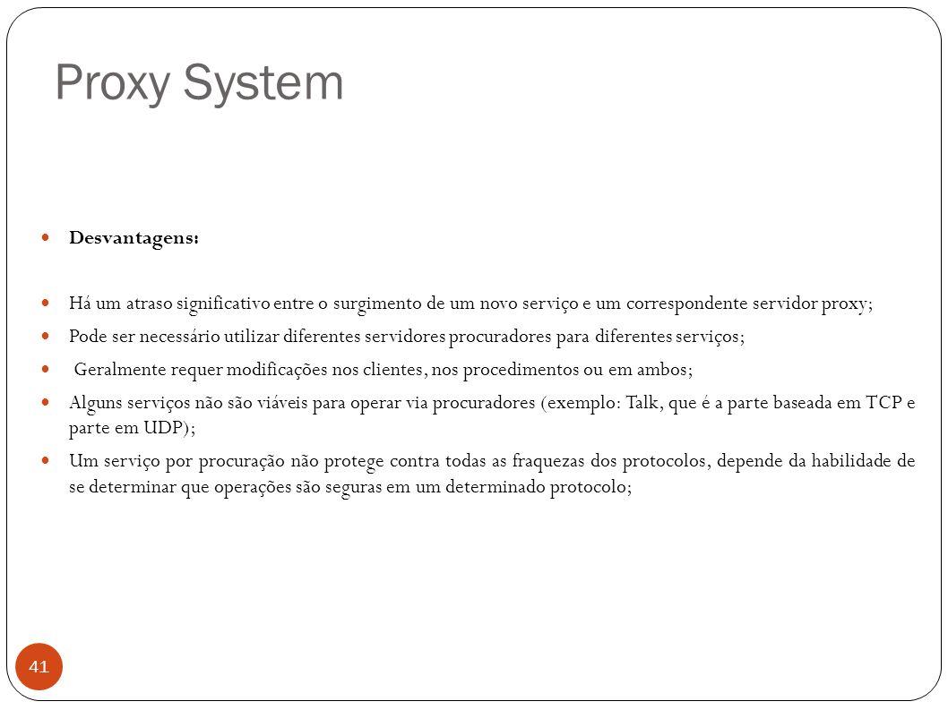 Proxy System Desvantagens: