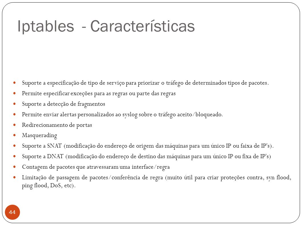 Iptables - Características