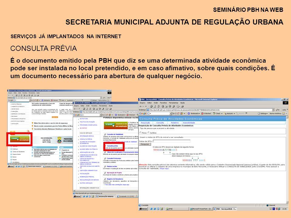 SERVIÇOS JÁ IMPLANTADOS NA INTERNET