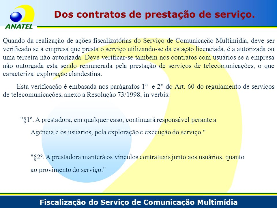 Dos contratos de prestação de serviço.