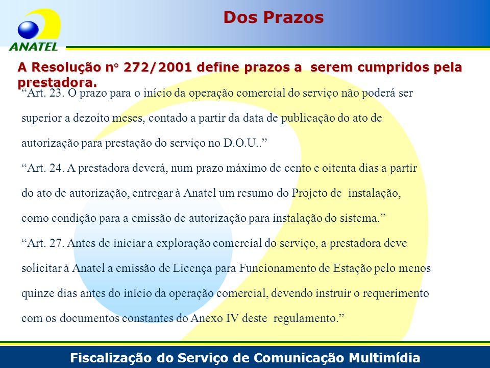 Dos Prazos A Resolução n° 272/2001 define prazos a serem cumpridos pela prestadora.