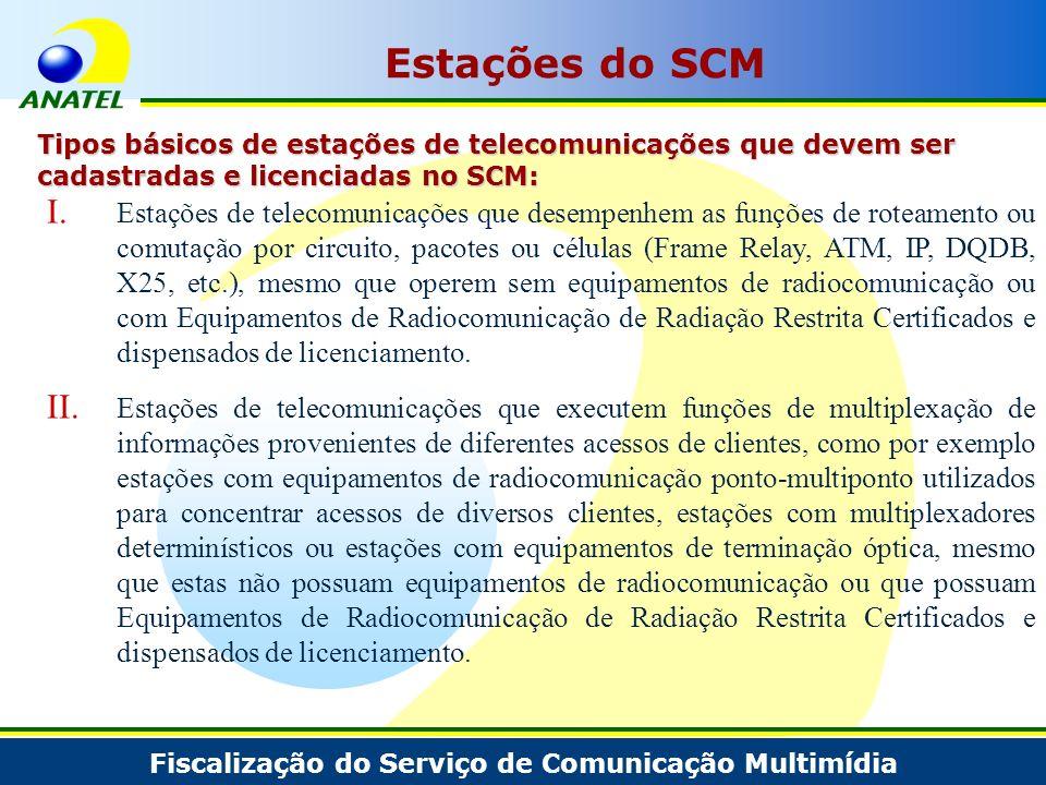 Estações do SCM Tipos básicos de estações de telecomunicações que devem ser cadastradas e licenciadas no SCM: