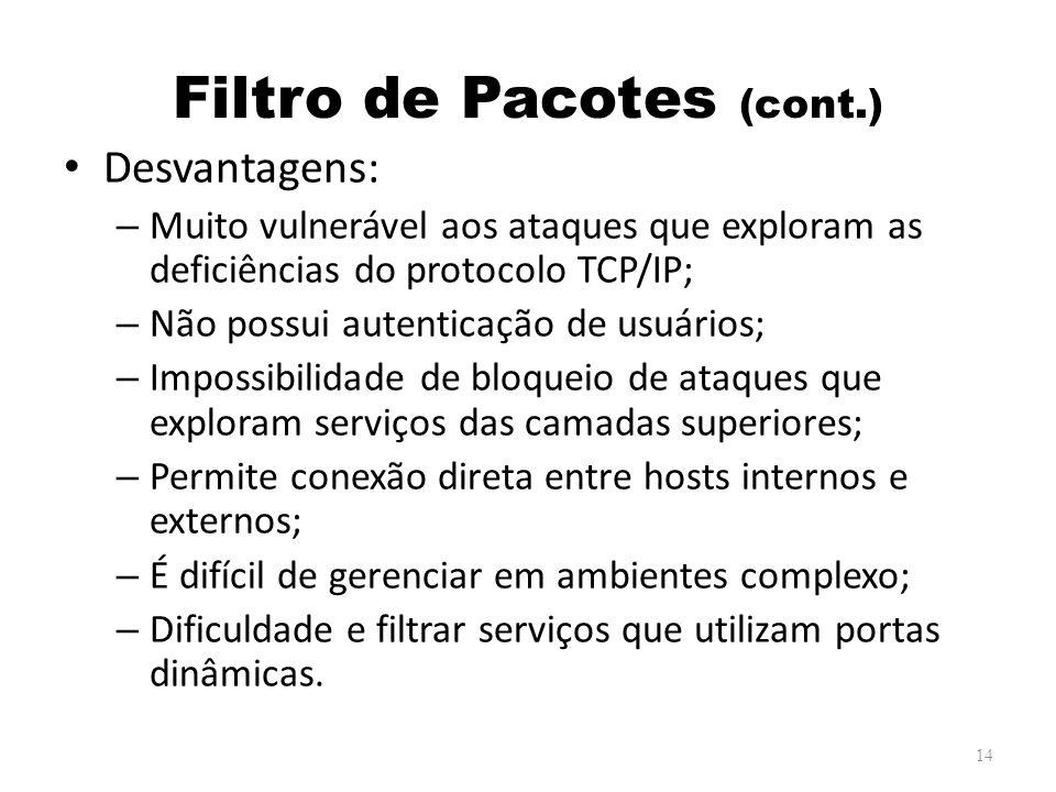 Filtro de Pacotes (cont.)