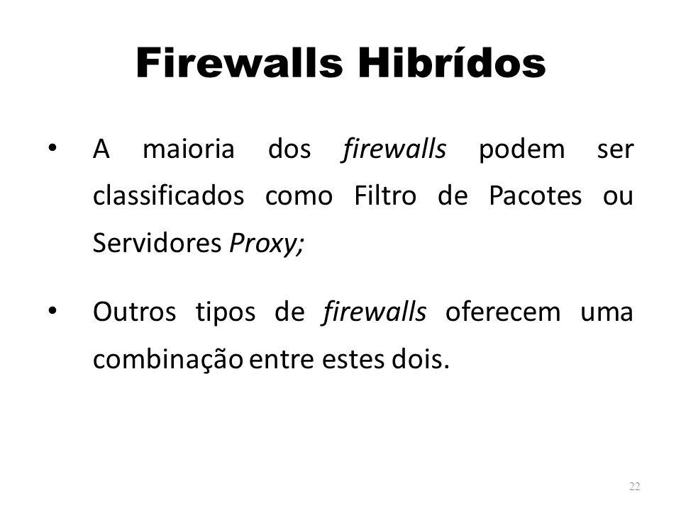 Firewalls Hibrídos A maioria dos firewalls podem ser classificados como Filtro de Pacotes ou Servidores Proxy;