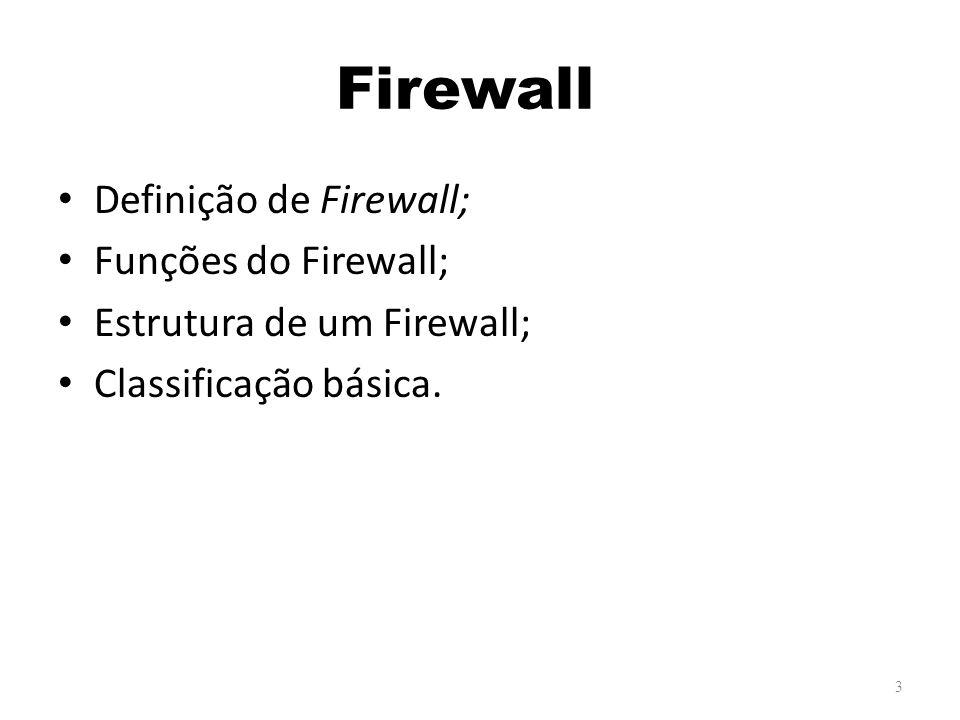 Firewall Definição de Firewall; Funções do Firewall;