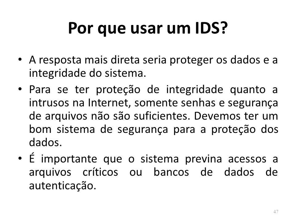 Por que usar um IDS A resposta mais direta seria proteger os dados e a integridade do sistema.