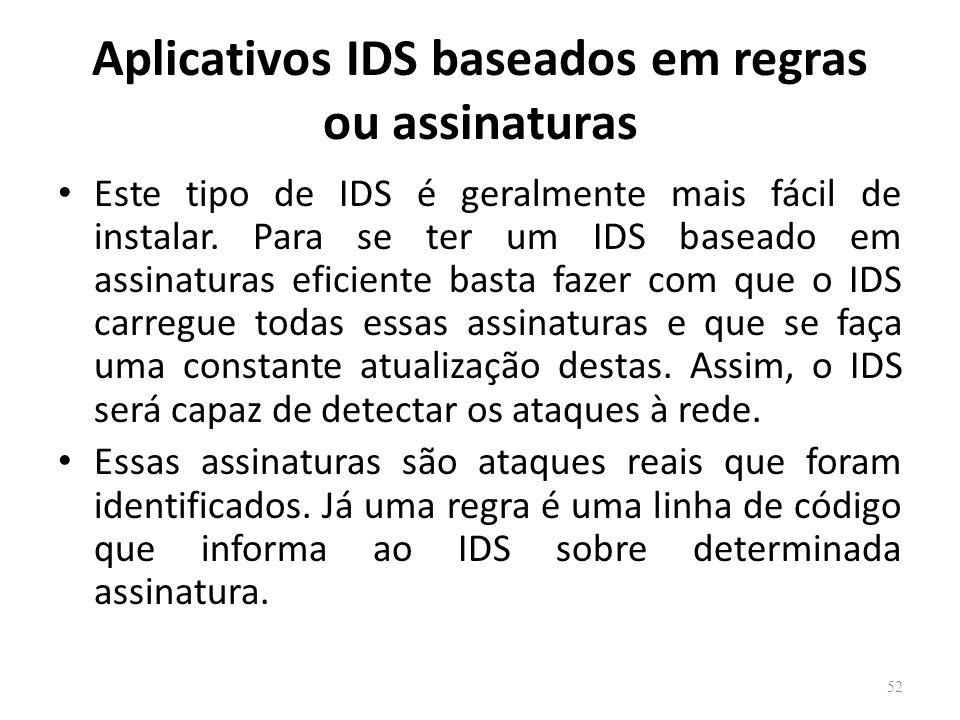 Aplicativos IDS baseados em regras ou assinaturas