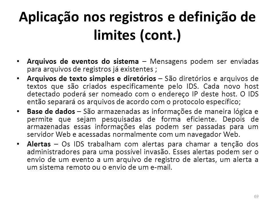 Aplicação nos registros e definição de limites (cont.)
