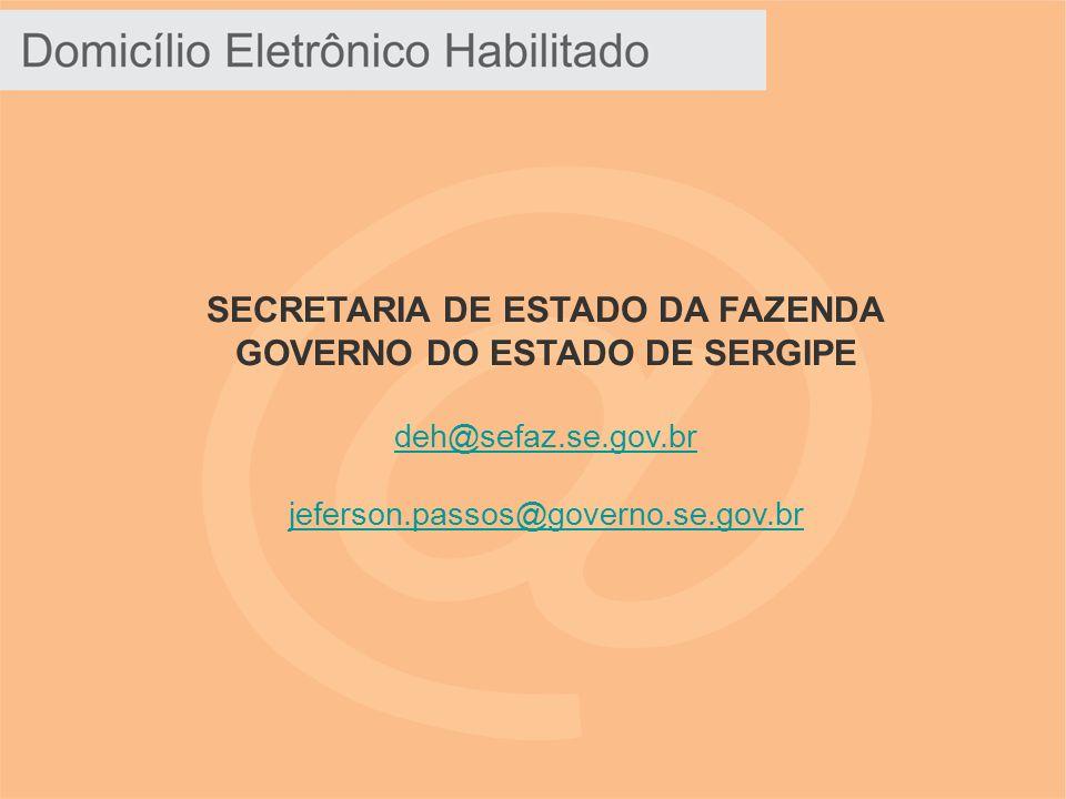 SECRETARIA DE ESTADO DA FAZENDA GOVERNO DO ESTADO DE SERGIPE