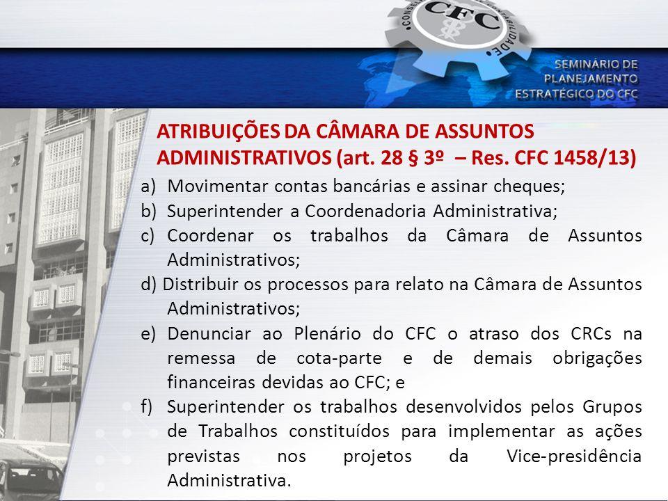 ATRIBUIÇÕES DA CÂMARA DE ASSUNTOS ADMINISTRATIVOS (art. 28 § 3º – Res