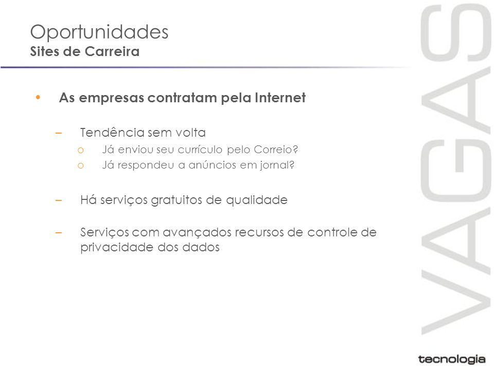 Oportunidades Sites de Carreira