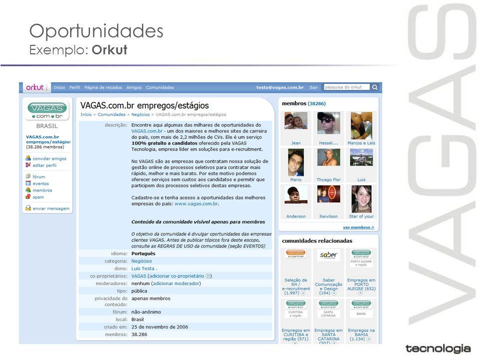 Oportunidades Exemplo: Orkut