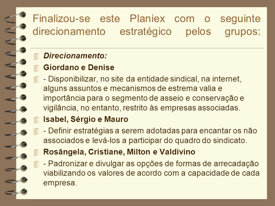 Finalizou-se este Planiex com o seguinte direcionamento estratégico pelos grupos: