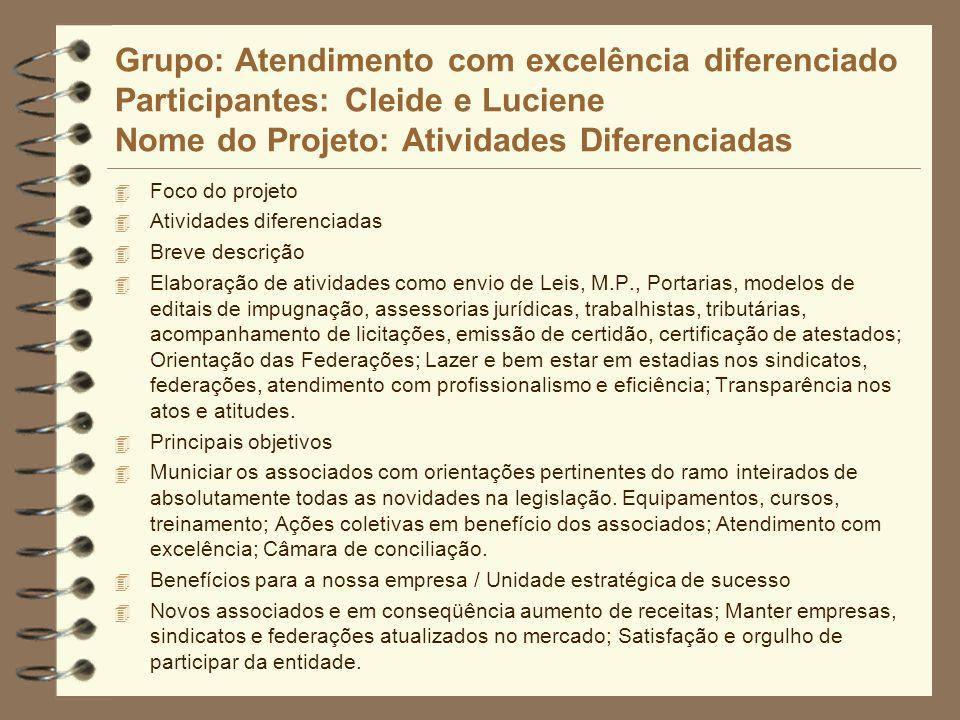 Grupo: Atendimento com excelência diferenciado Participantes: Cleide e Luciene Nome do Projeto: Atividades Diferenciadas