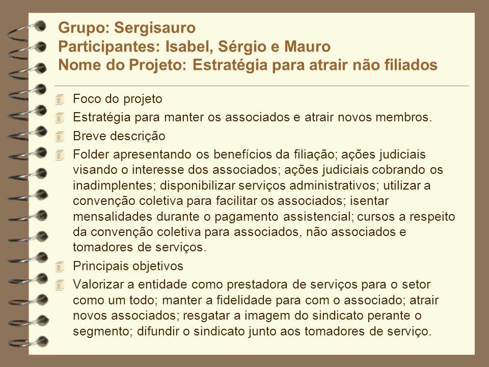 Grupo: Sergisauro Participantes: Isabel, Sérgio e Mauro Nome do Projeto: Estratégia para atrair não filiados