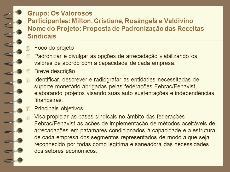 Grupo: Os Valorosos Participantes: Milton, Cristiane, Rosângela e Valdivino Nome do Projeto: Proposta de Padronização das Receitas Sindicais