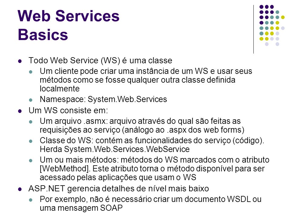Web Services Basics Todo Web Service (WS) é uma classe