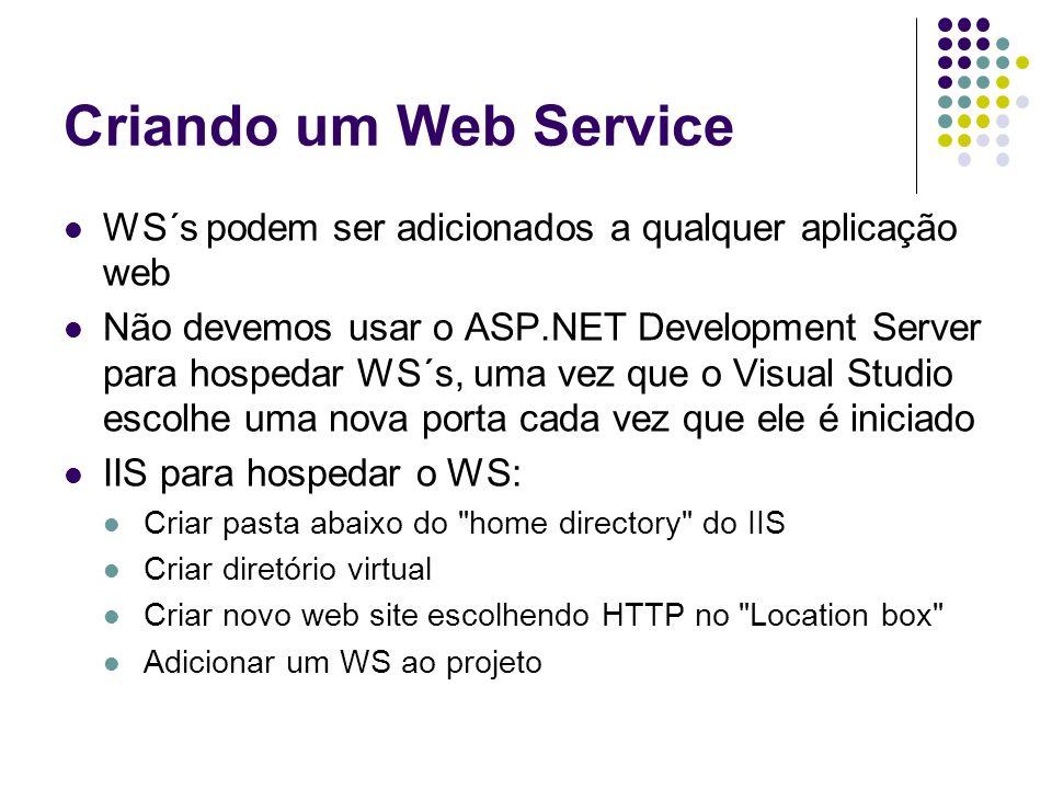 Criando um Web Service WS´s podem ser adicionados a qualquer aplicação web.