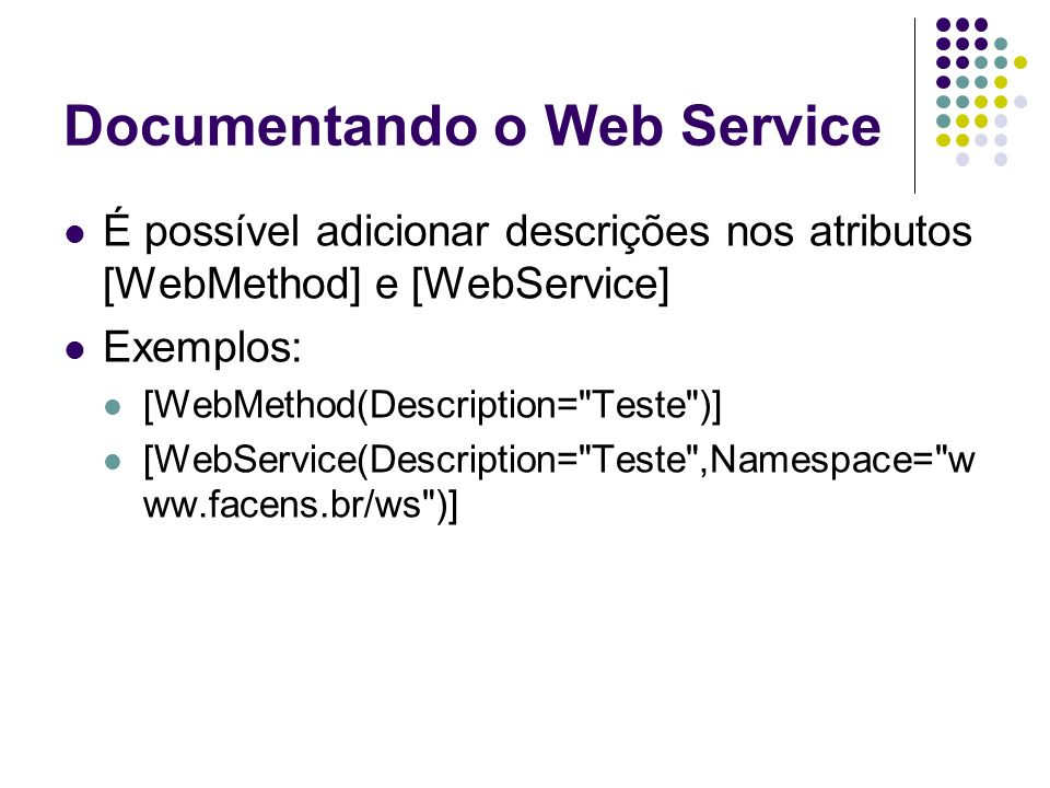 Documentando o Web Service