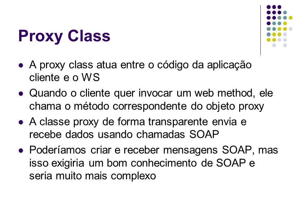 Proxy Class A proxy class atua entre o código da aplicação cliente e o WS.