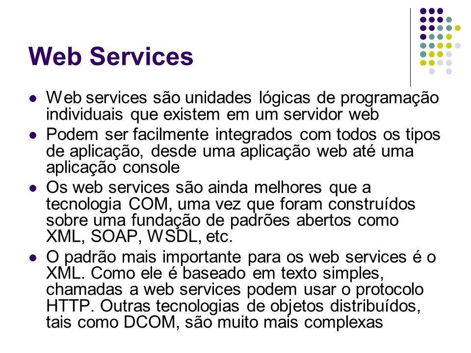 Web Services Web services são unidades lógicas de programação individuais que existem em um servidor web.