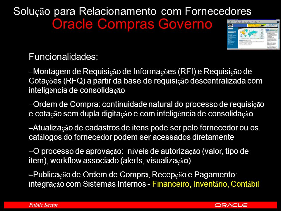 Solução para Relacionamento com Fornecedores Oracle Compras Governo