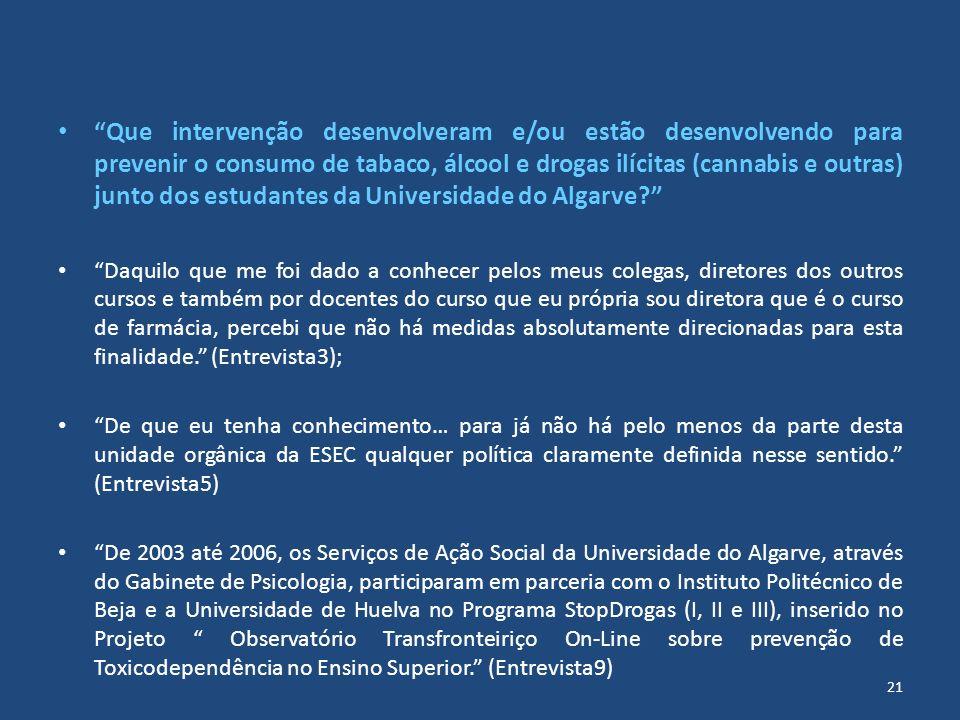 Que intervenção desenvolveram e/ou estão desenvolvendo para prevenir o consumo de tabaco, álcool e drogas ilícitas (cannabis e outras) junto dos estudantes da Universidade do Algarve