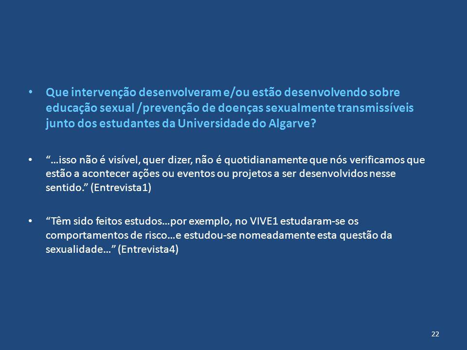 Que intervenção desenvolveram e/ou estão desenvolvendo sobre educação sexual /prevenção de doenças sexualmente transmissíveis junto dos estudantes da Universidade do Algarve