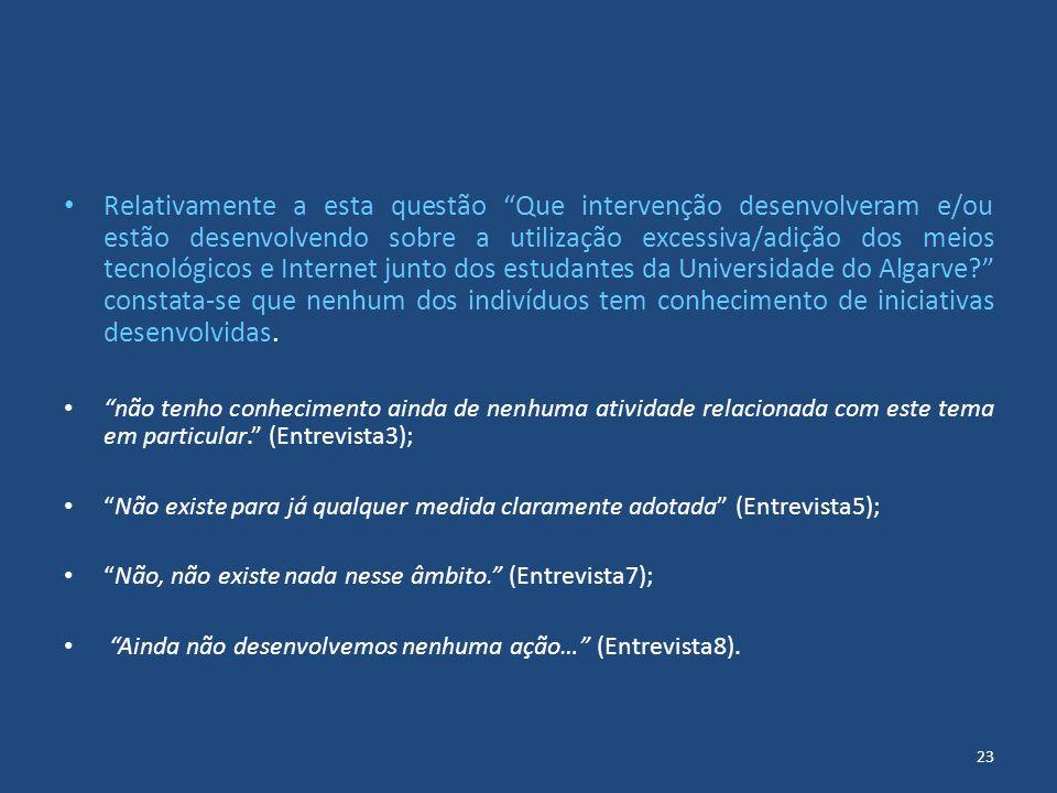 Relativamente a esta questão Que intervenção desenvolveram e/ou estão desenvolvendo sobre a utilização excessiva/adição dos meios tecnológicos e Internet junto dos estudantes da Universidade do Algarve constata-se que nenhum dos indivíduos tem conhecimento de iniciativas desenvolvidas.
