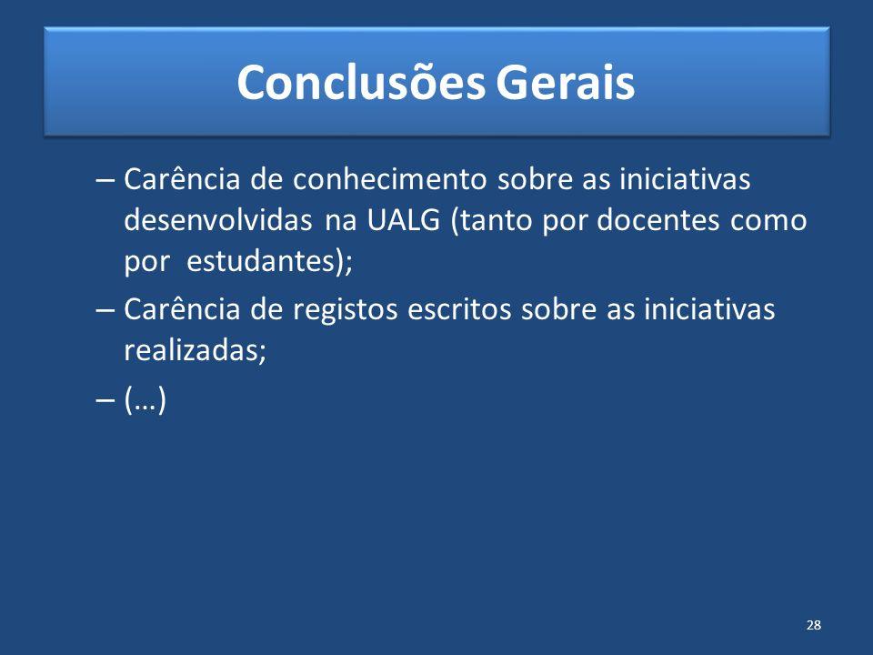 Conclusões Gerais Carência de conhecimento sobre as iniciativas desenvolvidas na UALG (tanto por docentes como por estudantes);