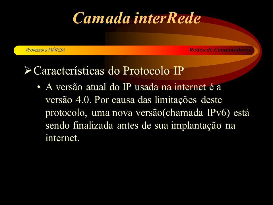 Camada interRede Características do Protocolo IP