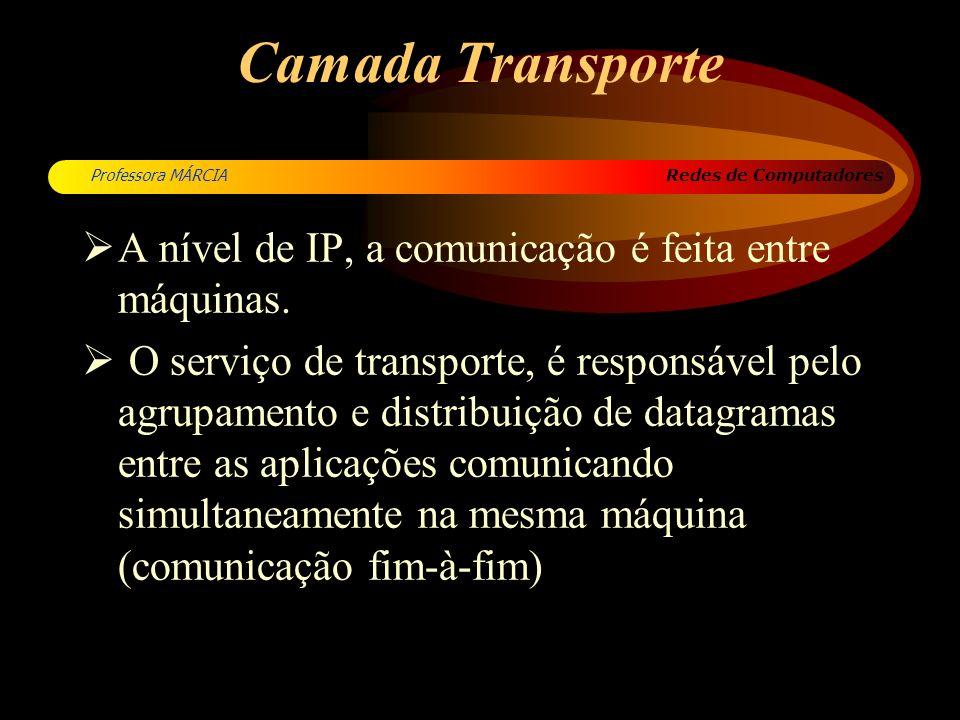 Camada Transporte A nível de IP, a comunicação é feita entre máquinas.