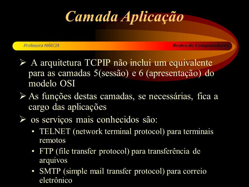 Camada Aplicação A arquitetura TCPIP não inclui um equivalente para as camadas 5(sessão) e 6 (apresentação) do modelo OSI.