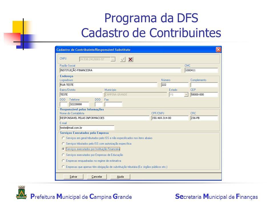 Programa da DFS Cadastro de Contribuintes