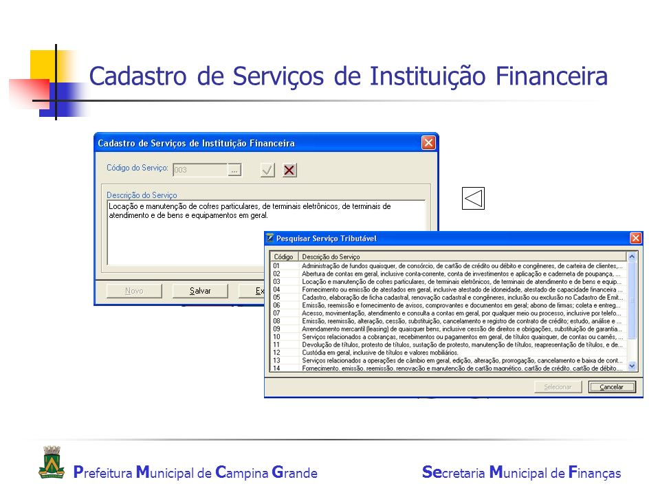 Cadastro de Serviços de Instituição Financeira