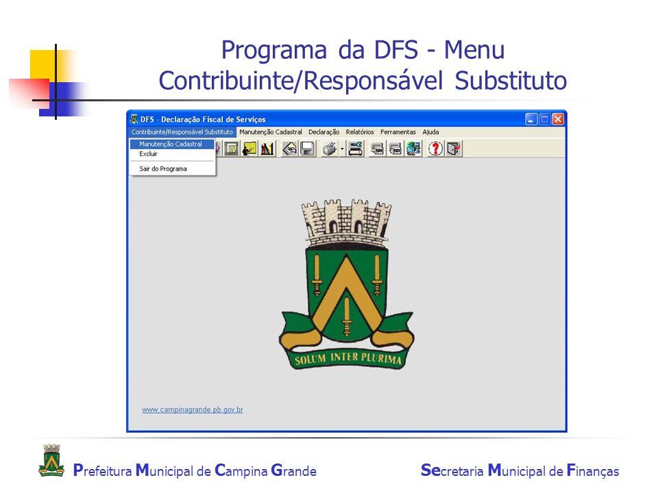 Programa da DFS - Menu Contribuinte/Responsável Substituto