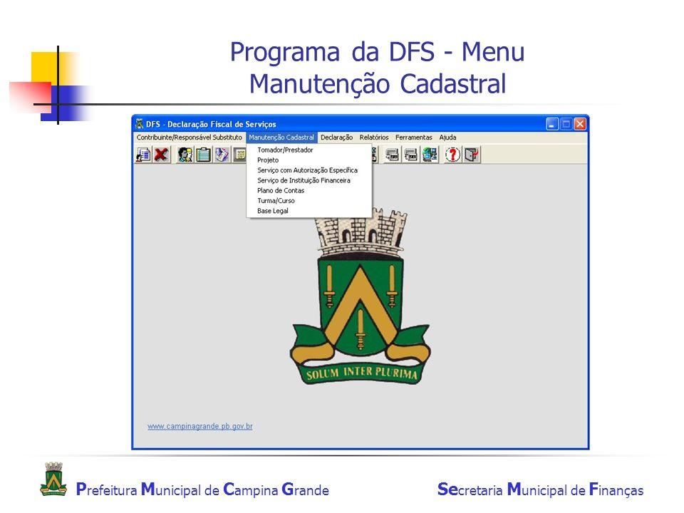 Programa da DFS - Menu Manutenção Cadastral