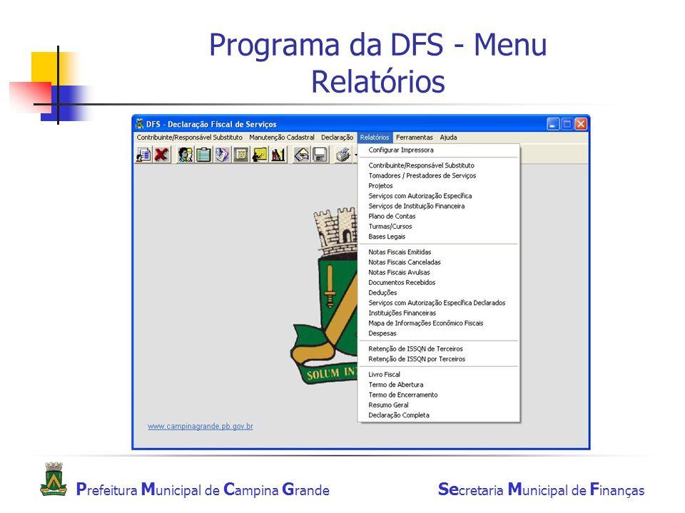 Programa da DFS - Menu Relatórios