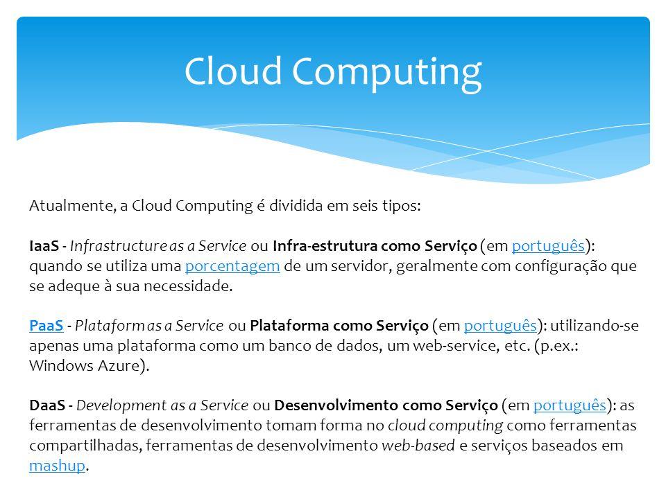 Cloud Computing Atualmente, a Cloud Computing é dividida em seis tipos: