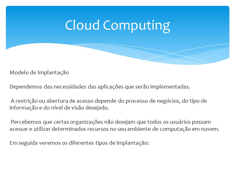 Cloud Computing Modelo de Implantação