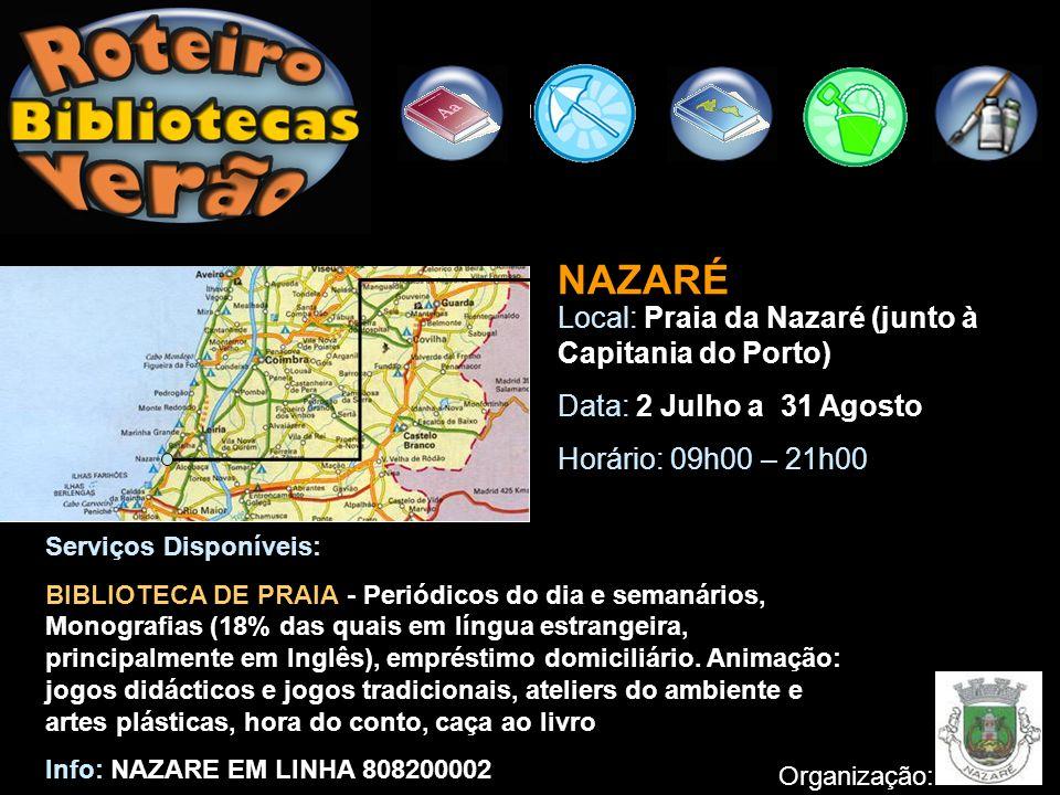 NAZARÉ Local: Praia da Nazaré (junto à Capitania do Porto)